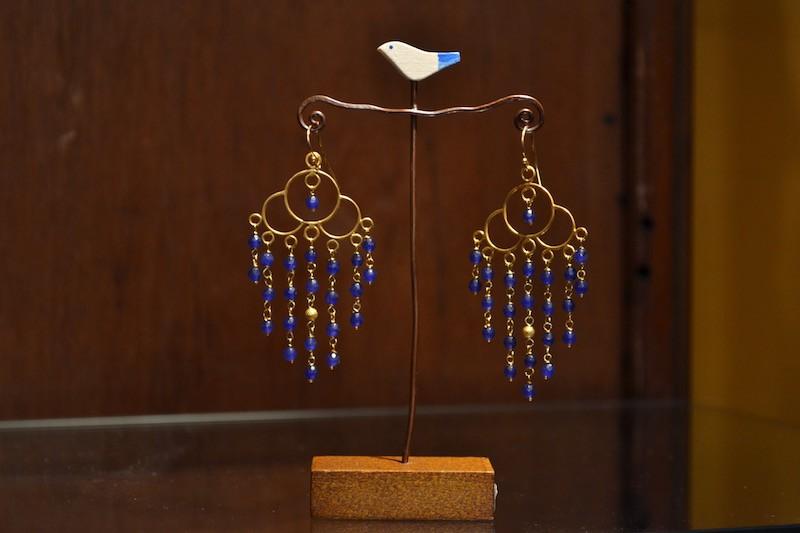 Orecchini agate e oro indiano