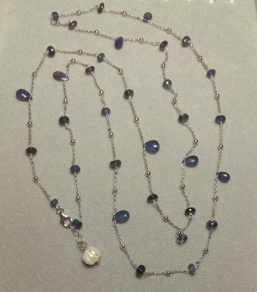 Collana in argento concatenata con pietre semi preziose