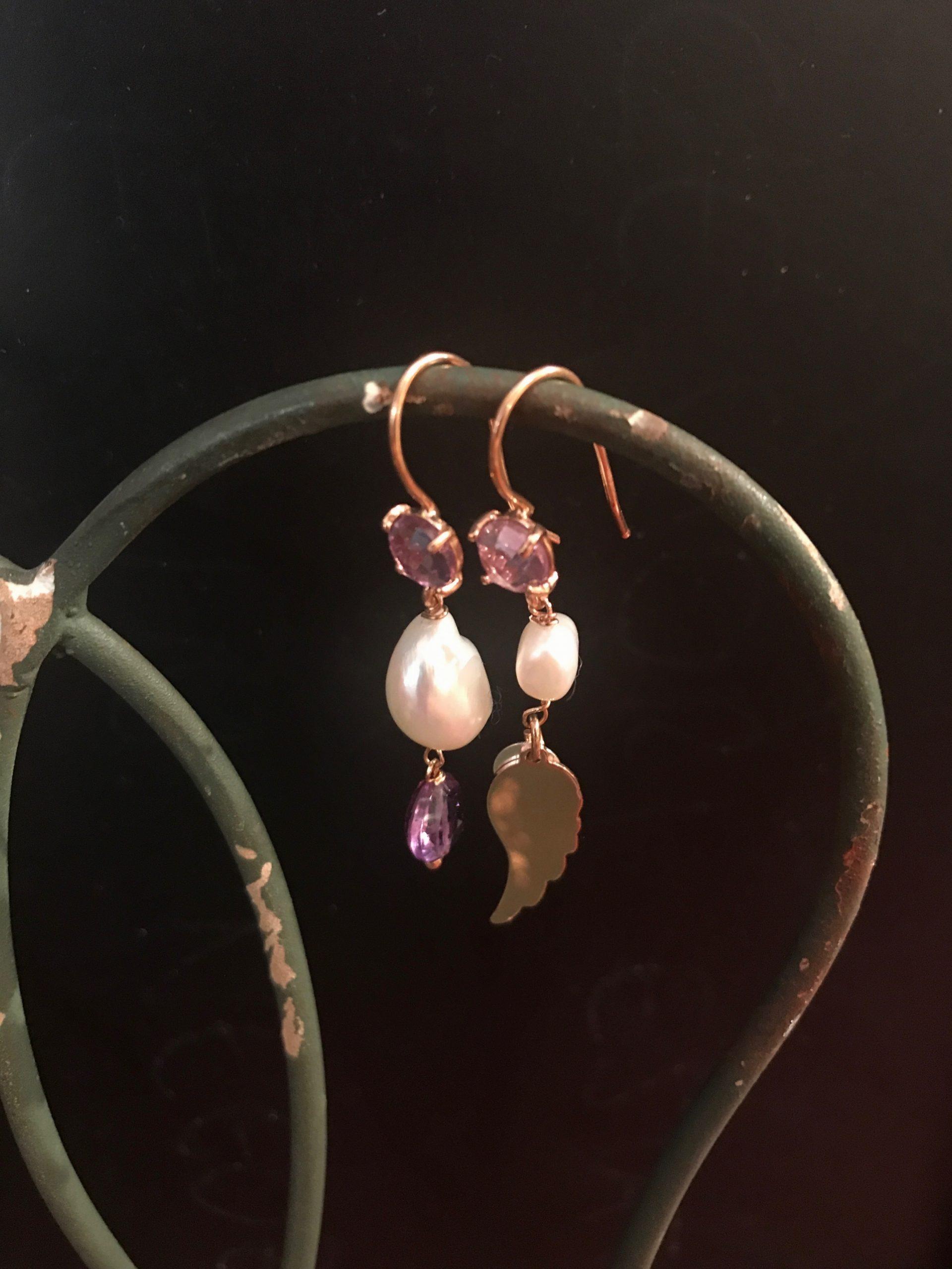 Orecchini in argento pendenti con pietre semi preziose