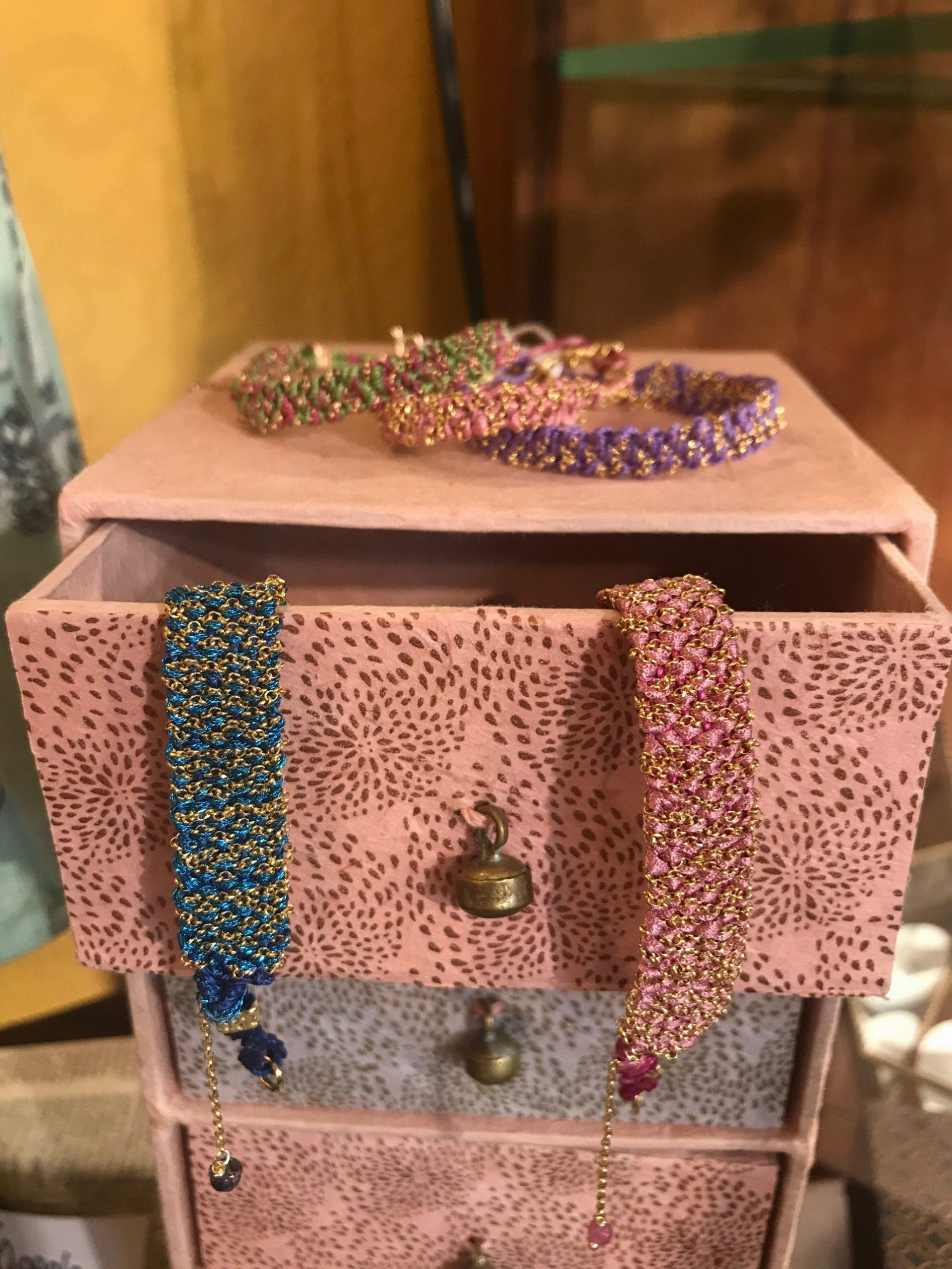 orecchini pendenti stoffa bracciali
