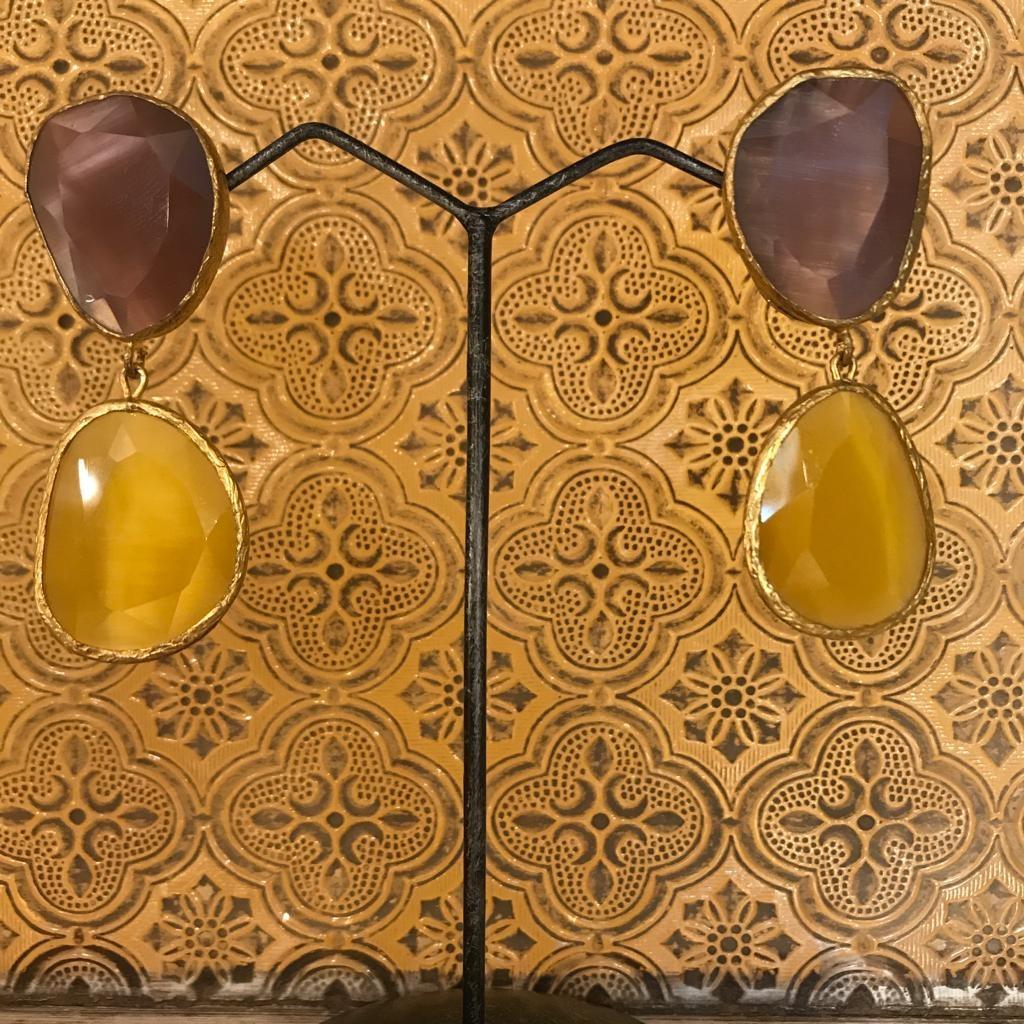 Orecchini pendenti cristalli ottone