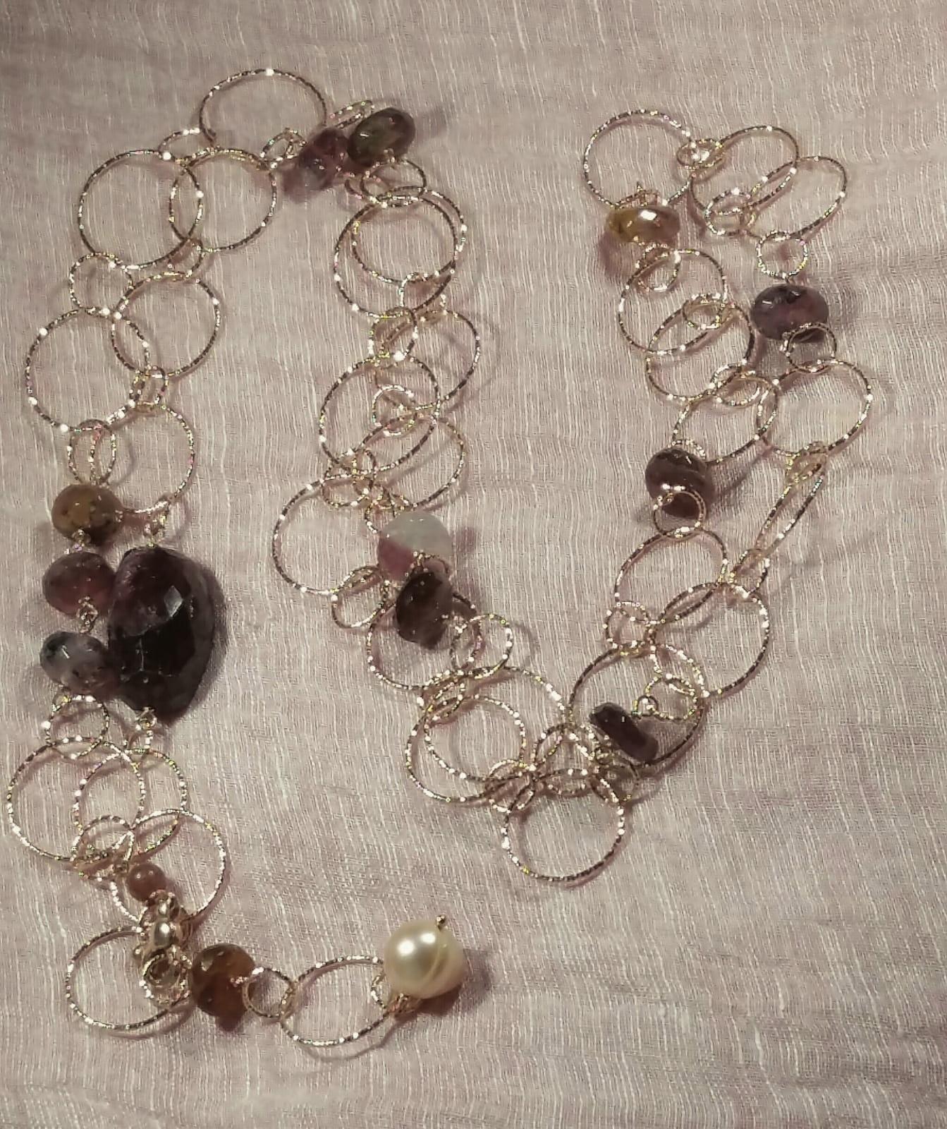 collana lunga con catena e tormaline