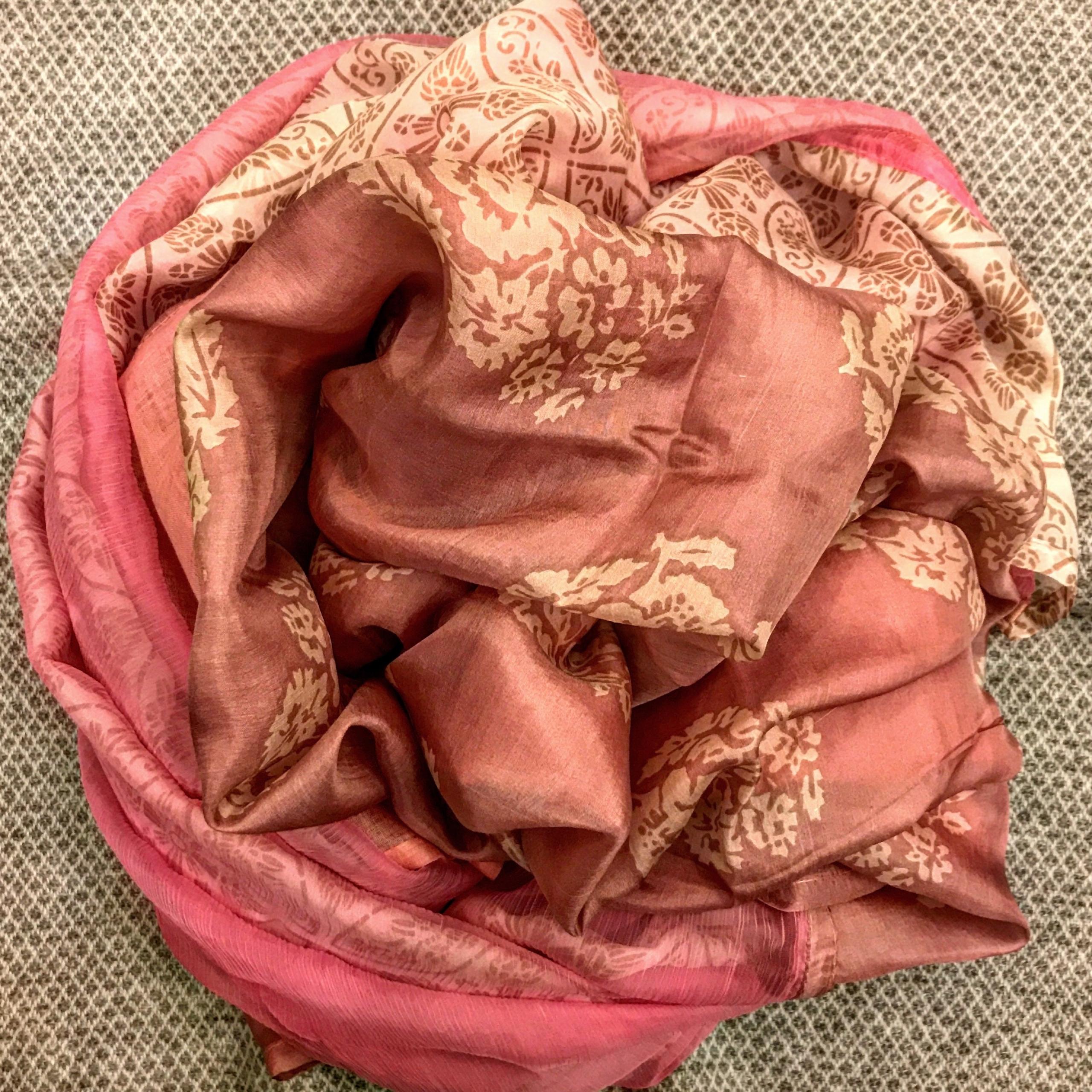 Sciarpa / stola in lino, chiffon e seta