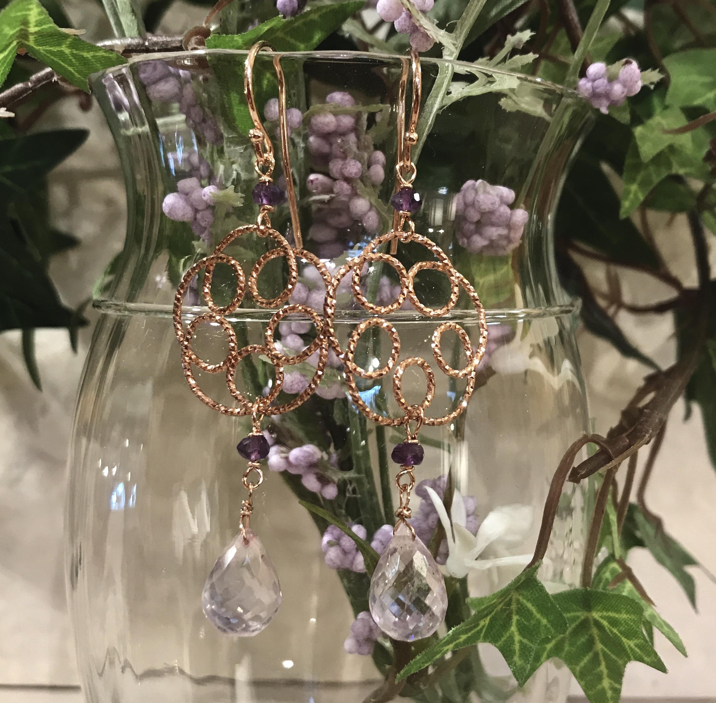 Orecchini con fiore in argento rosato goccia di ametista rosa di Francia